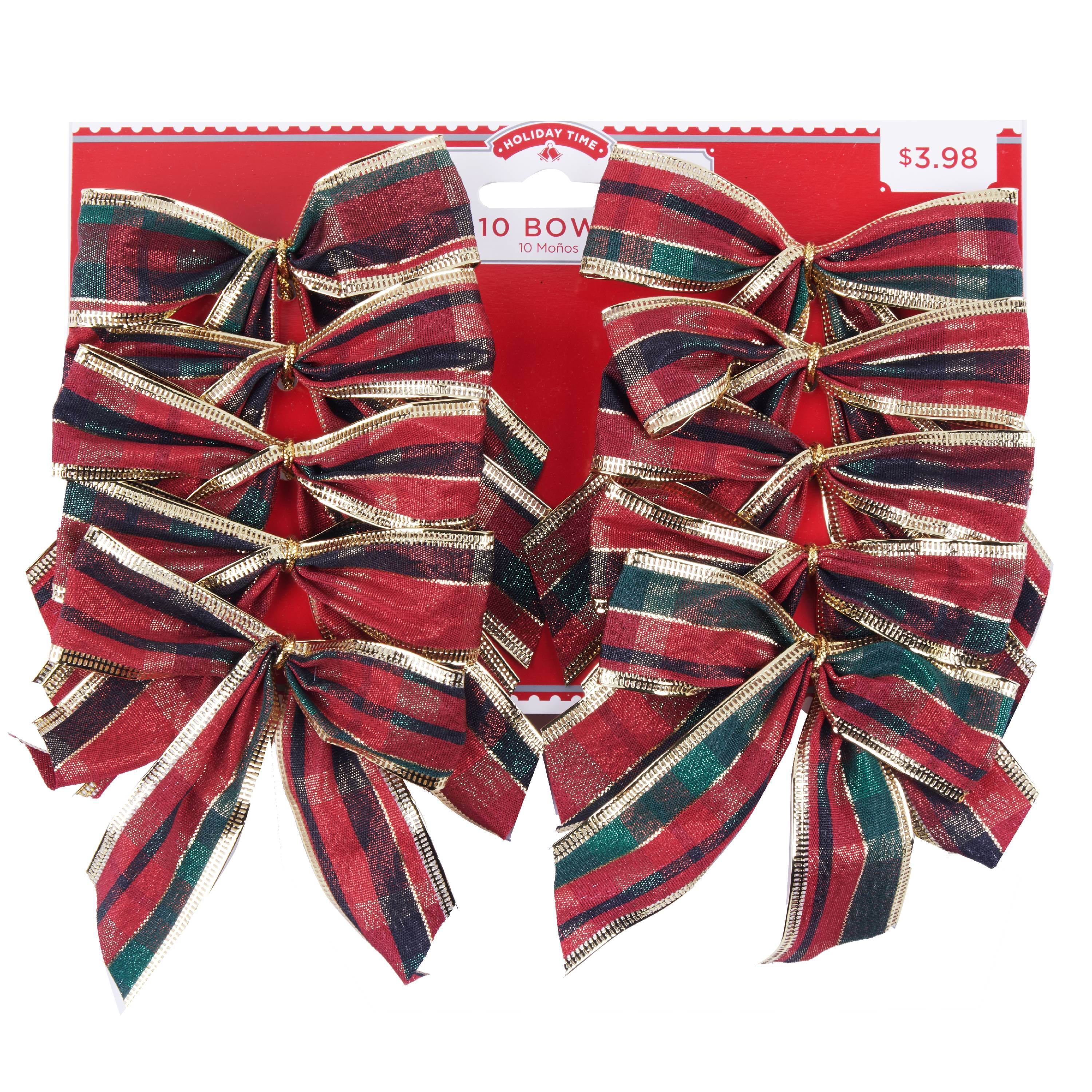 Holiday Time Plaid Bows, 10 Count