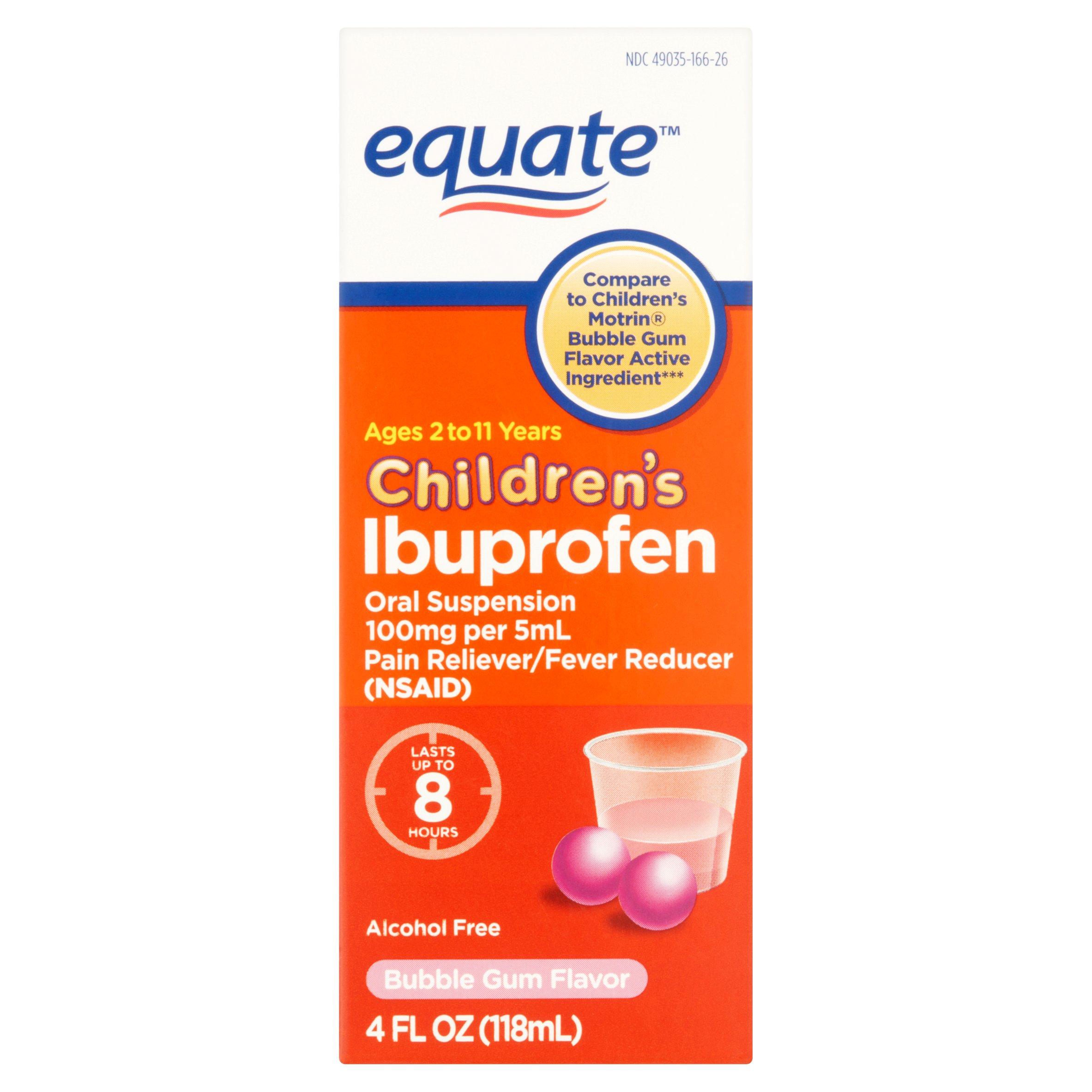 equate children u0027s ibuprofen bubble gum flavor oral suspension 4