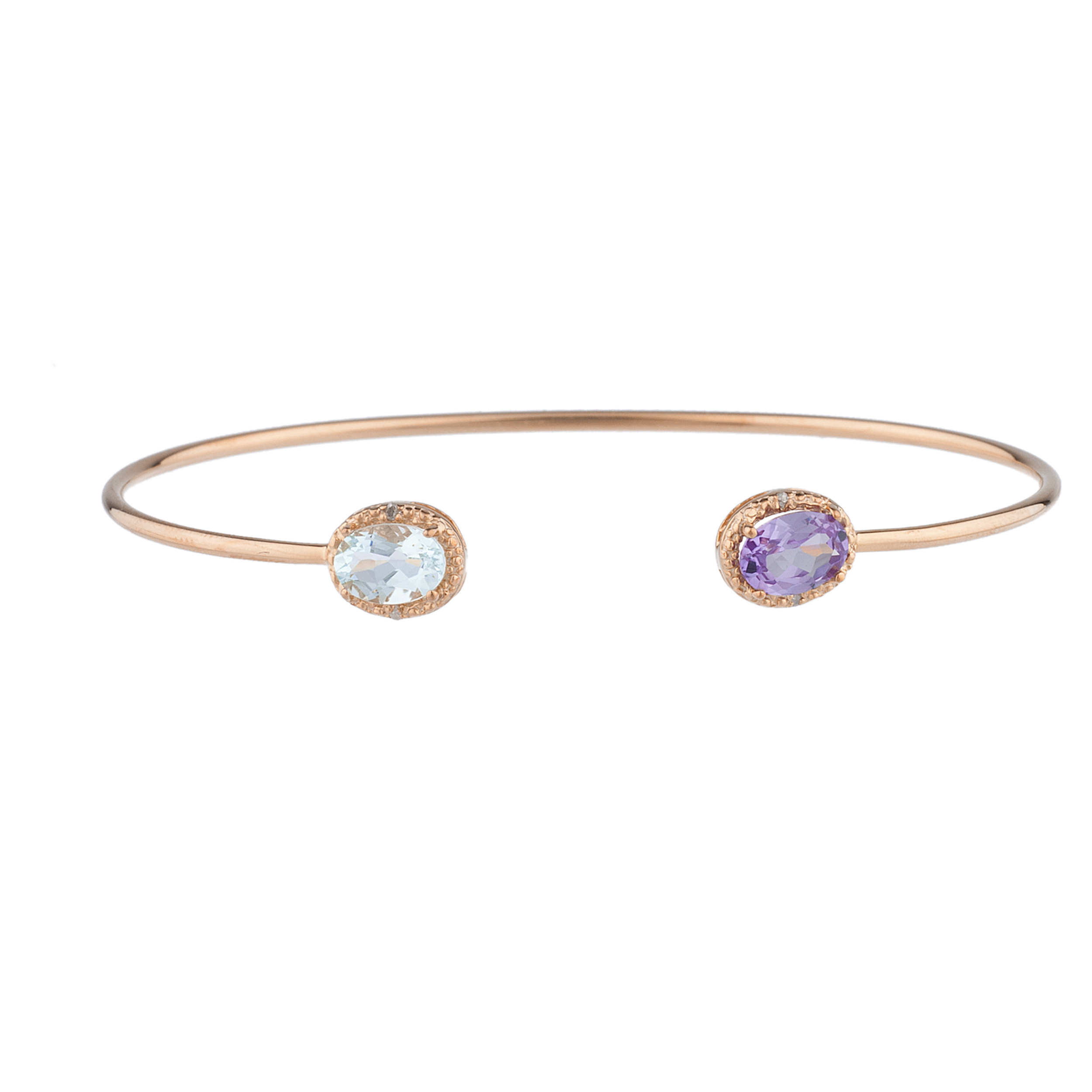 Genuine Aquamarine & Amethyst Diamond Bangle Oval Bracelet 14Kt Rose Gold Plated Over .925 Sterling Silver by Elizabeth Jewelry Inc