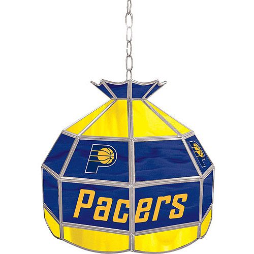 "Trademark Global Indiana Pacers NBA 16"" Stained Glass Tiffany Lamp Light Fixture"