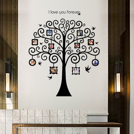 large family tree photo frames wall decal, removable wall stickers