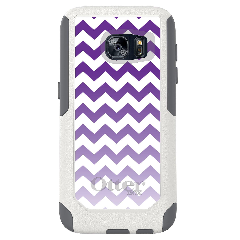 DistinctInk™ Custom White OtterBox Commuter Series Case for Samsung Galaxy S7 - White Purple Fade Chevron Stripes
