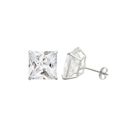 e66531295 iParis - 14K White Gold Princess 10 mm Cubic Zirconia Stud Earrings. -  Walmart.com