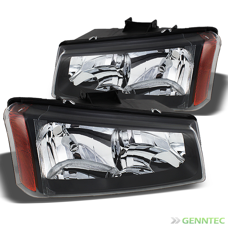 For 2003-2006 Chevy Silverado Black Headlights Front Lamps Replacement Pair Left+Right 2004 2005