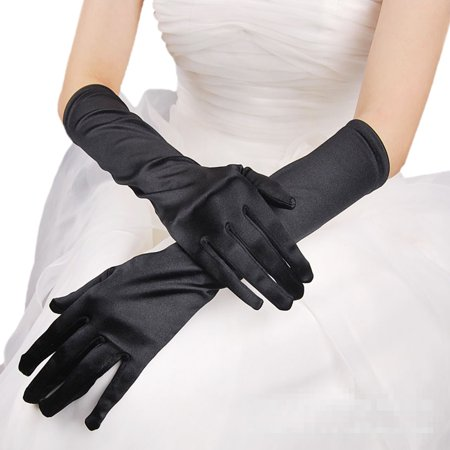 Premium Women's Long Solid Color Satin Wedding Party Bridal Gloves, Black