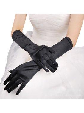 Premium Women's Long Solid Color Satin Wedding Party Bridal Gloves, Black