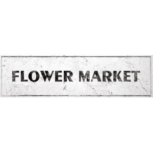 Flower Market Sign Rustic Farmhouse Country Kitchen with Vintage Shabby Chic On 5x18