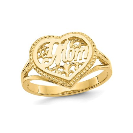 14K Yellow Gold Polished #1 MOM Heart Ring