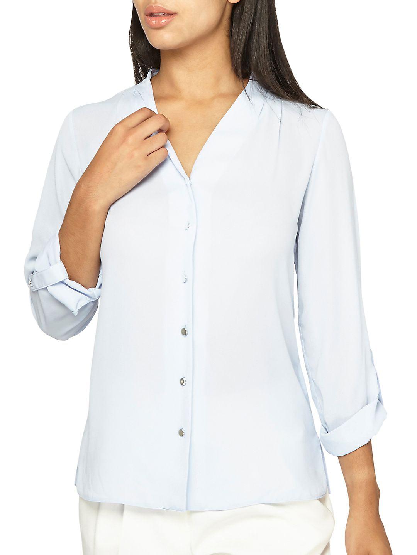 Pleated Roll-Sleeve Shirt