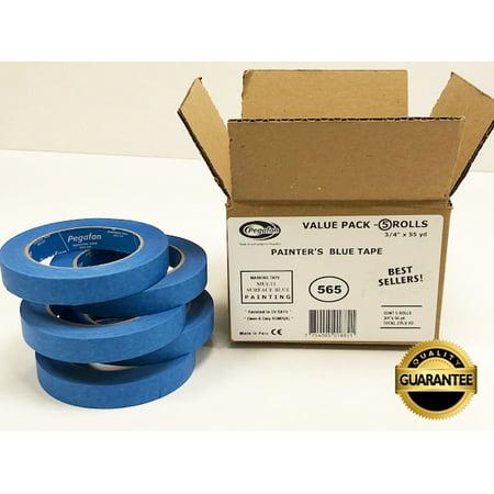Blue Taper - PEGAFAN VALUE PACK (5 ROLLS) BLUE Painter's Masking Tape, Multi-Use, 3/4