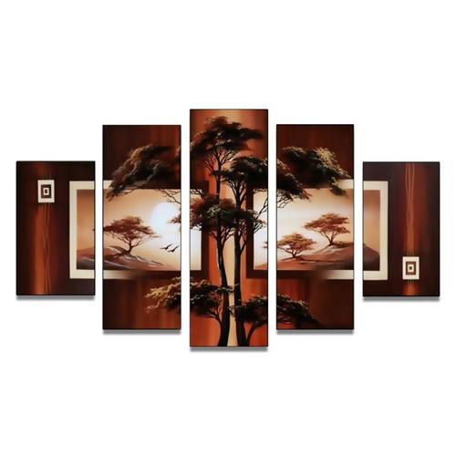 World Menagerie Safari Acacia Tree' 5 Piece Painting on Canvas Set