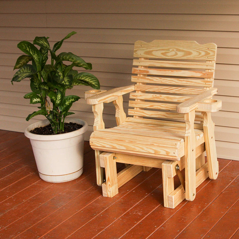 Amish Heavy Duty 600 Lb Classic Pressure Treated Glider Chair With Cupholders (Unfinished)