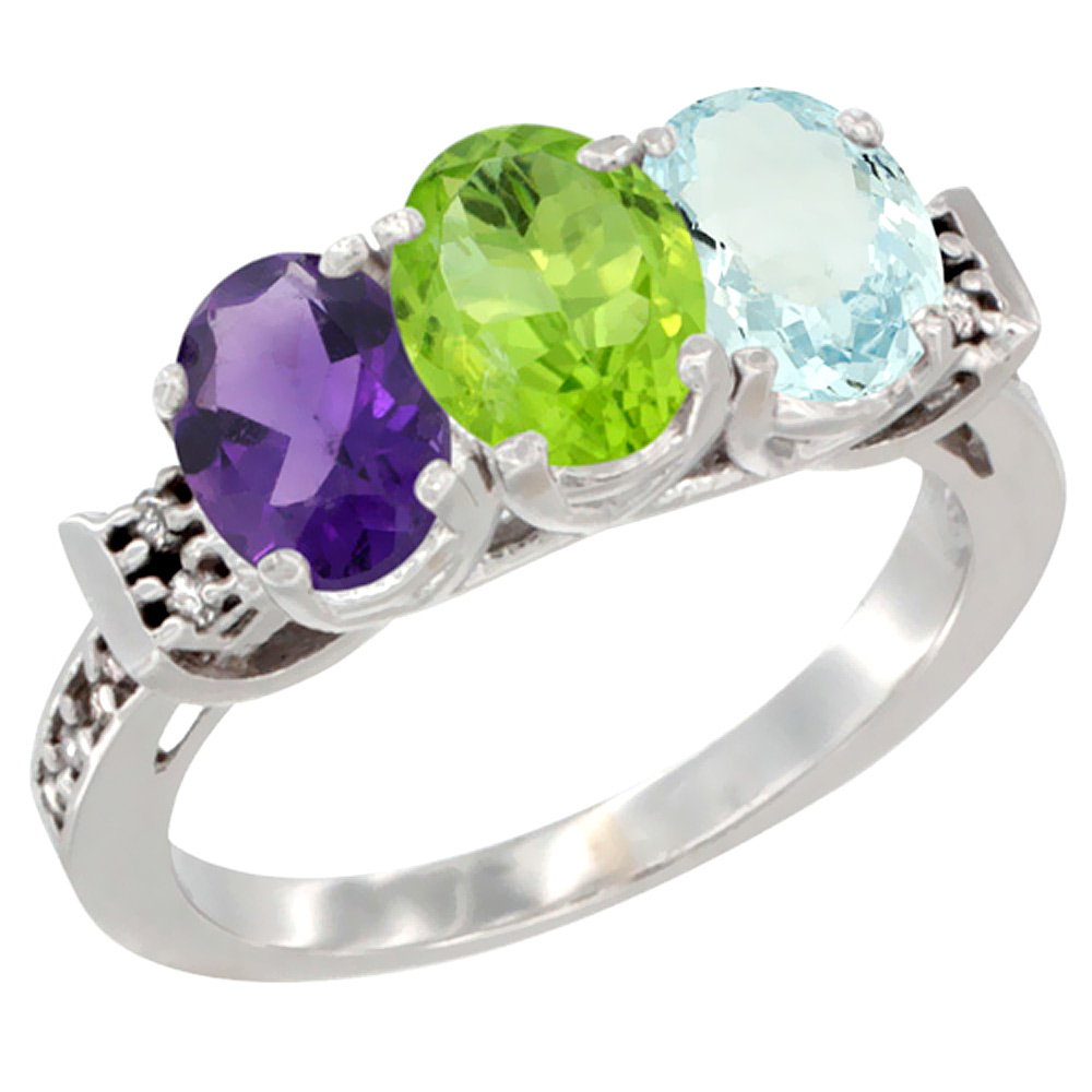 10K White Gold Natural Amethyst, Peridot & Aquamarine Ring 3-Stone Oval 7x5 mm Diamond Accent, sizes 5 10 by WorldJewels