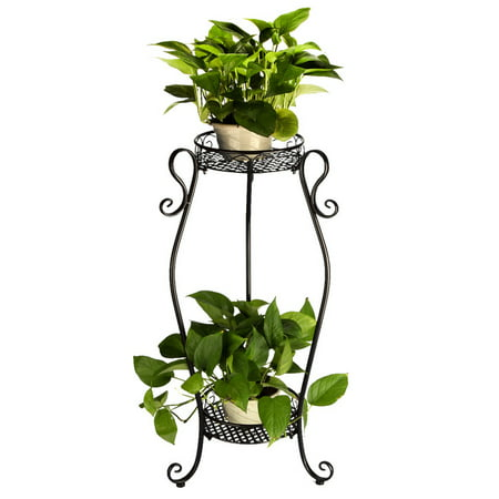 Dazone Demountable Metal 2 Tiers Plant Rack Indoor Floor Model Potted Plant Stand Black