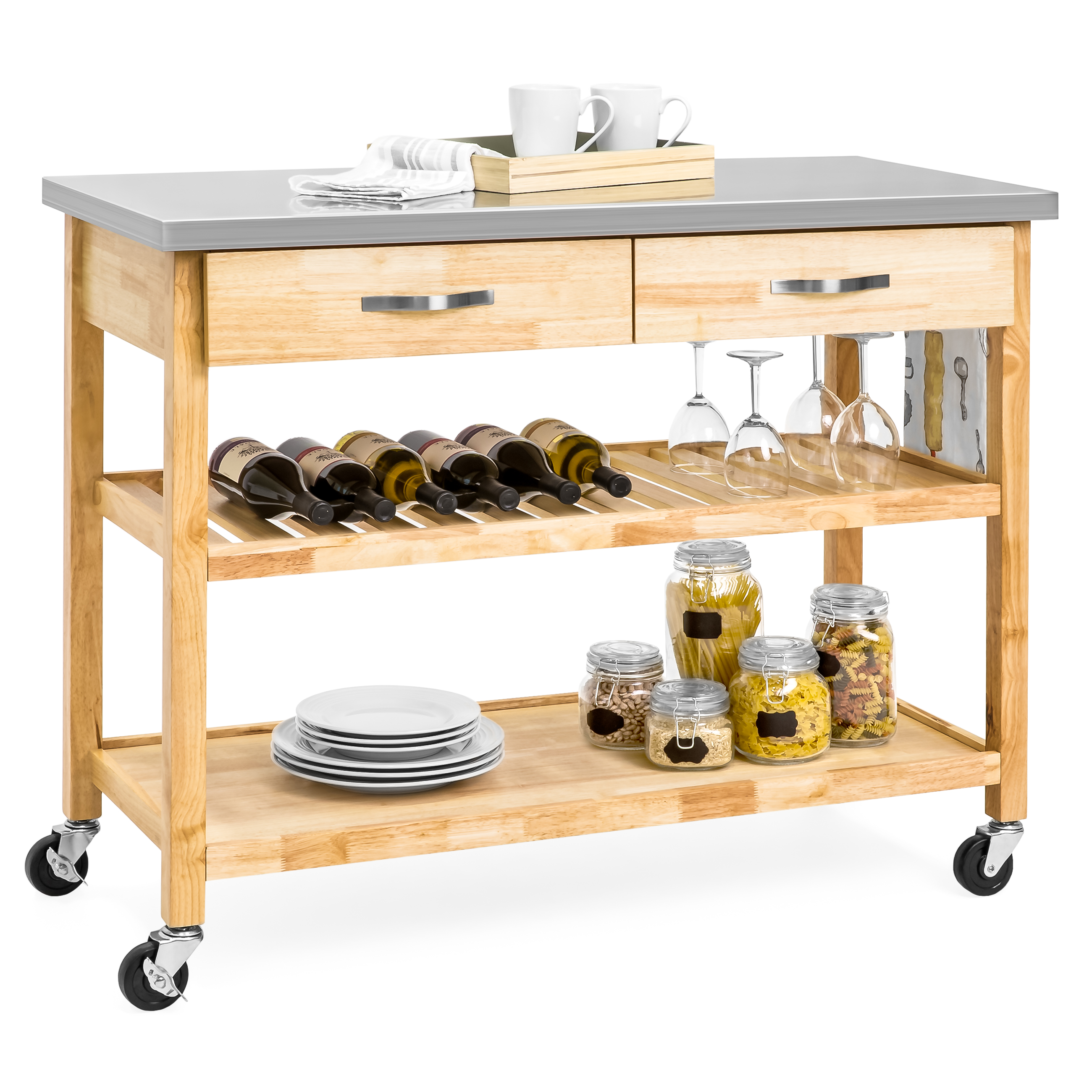 Best Choice Products 3-Tier Wood Rolling Kitchen Island Utility Serving Cart w  Stainless Steel Countertop Natural by Best Choice Products