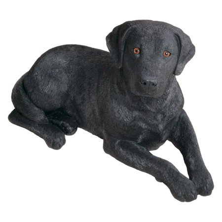 Sandicast Original Size Black Labrador Retriever Sculpture - Laying