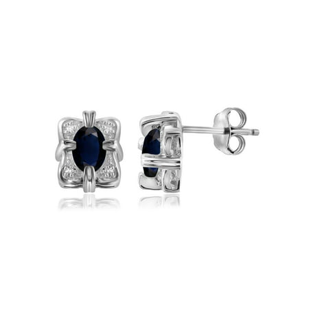 1.34 Carat Sapphire Gemstone and Accent White Diamond Women's Sterling Silver