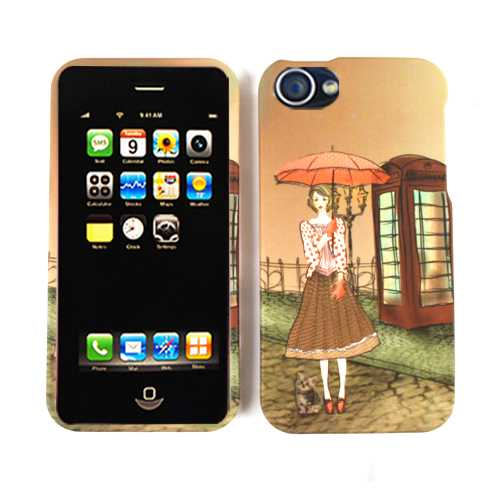 Unlimited Cellular Snap-On Case for Apple iPhone 4/4S (Girl with Umbrella)