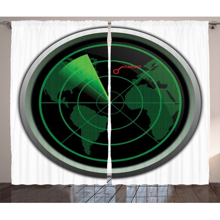 Airplane Decor Curtains 2 Panels Set, Military Radar Screen Global Defense Danger Detecter Scanner Signal System Graphic, Living Room Bedroom Accessories, By Ambesonne