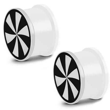 Glow in the Dark Soft Silicone Windmill Swirl Saddle Ear Plugs, Pair - Glow In The Dark Ears