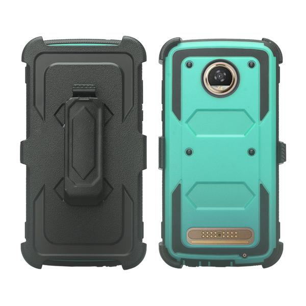 Moto Z2 Play Case, Moto Z2 Force Case, Heavy Duty Swivel Locking Belt Clip Holster, [Built In Screen Protector] Full Body Coverage Rugged Protection For Moto Z2 Play / Moto Z2 Force - Teal - image 1 de 4