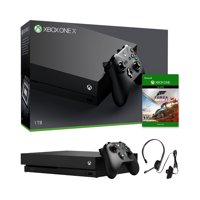 Microsoft Xbox One X Refurbished 1TB Black 4K Ultra HD Console + Xbox Chat Headset - Microsoft Forza Horizon 4 Bundle