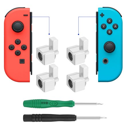 4-pack Alloy Metal Buckle Lock Latch Replacement for Nintendo Switch NS Joy Con, with 2 x Screwdrivers(Repair Tool Kit)