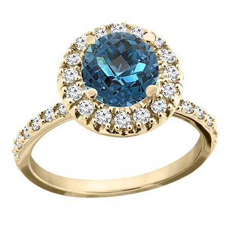 14K Yellow Gold Natural London Blue Topaz Ring Round 8mm Floating Halo Diamond, size 9.5