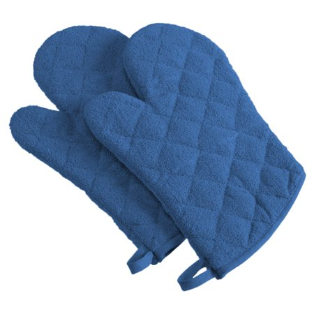 Design Imports Terry Oven Mitts, Set of 2, Blueberry