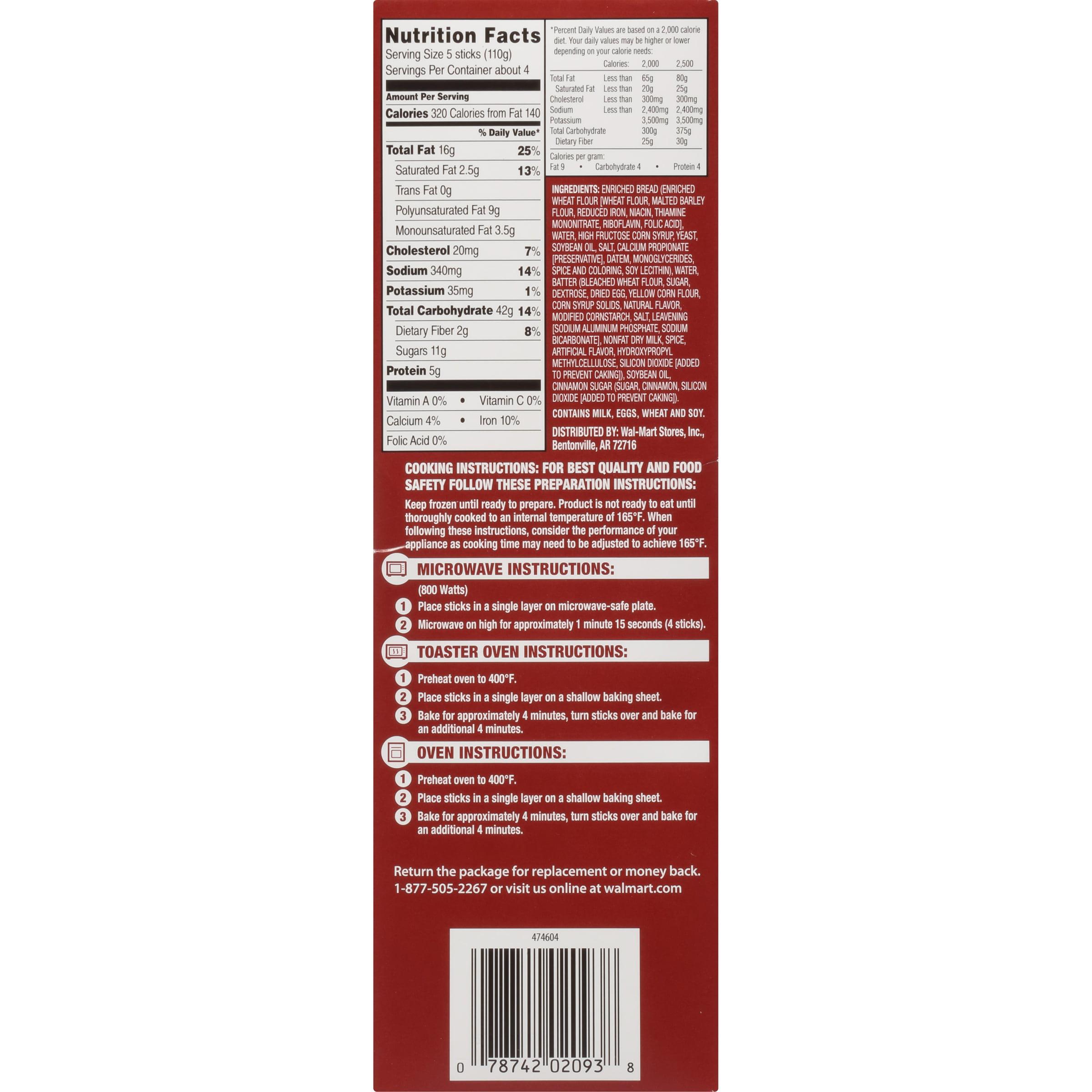 Great Value Cinnamon French Toast Sticks 16 Oz Box