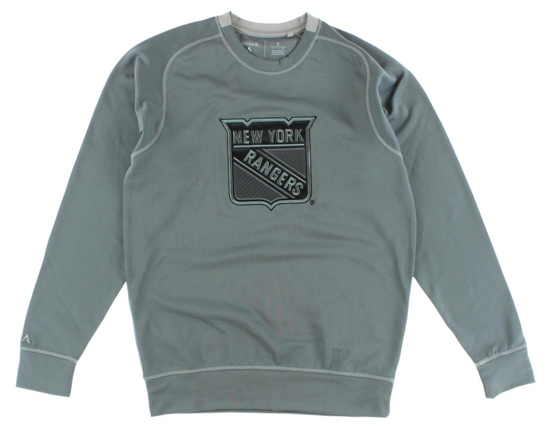 Antigua Mens New York Rangers NHL Carbon Crew Sweatshirt Grey by