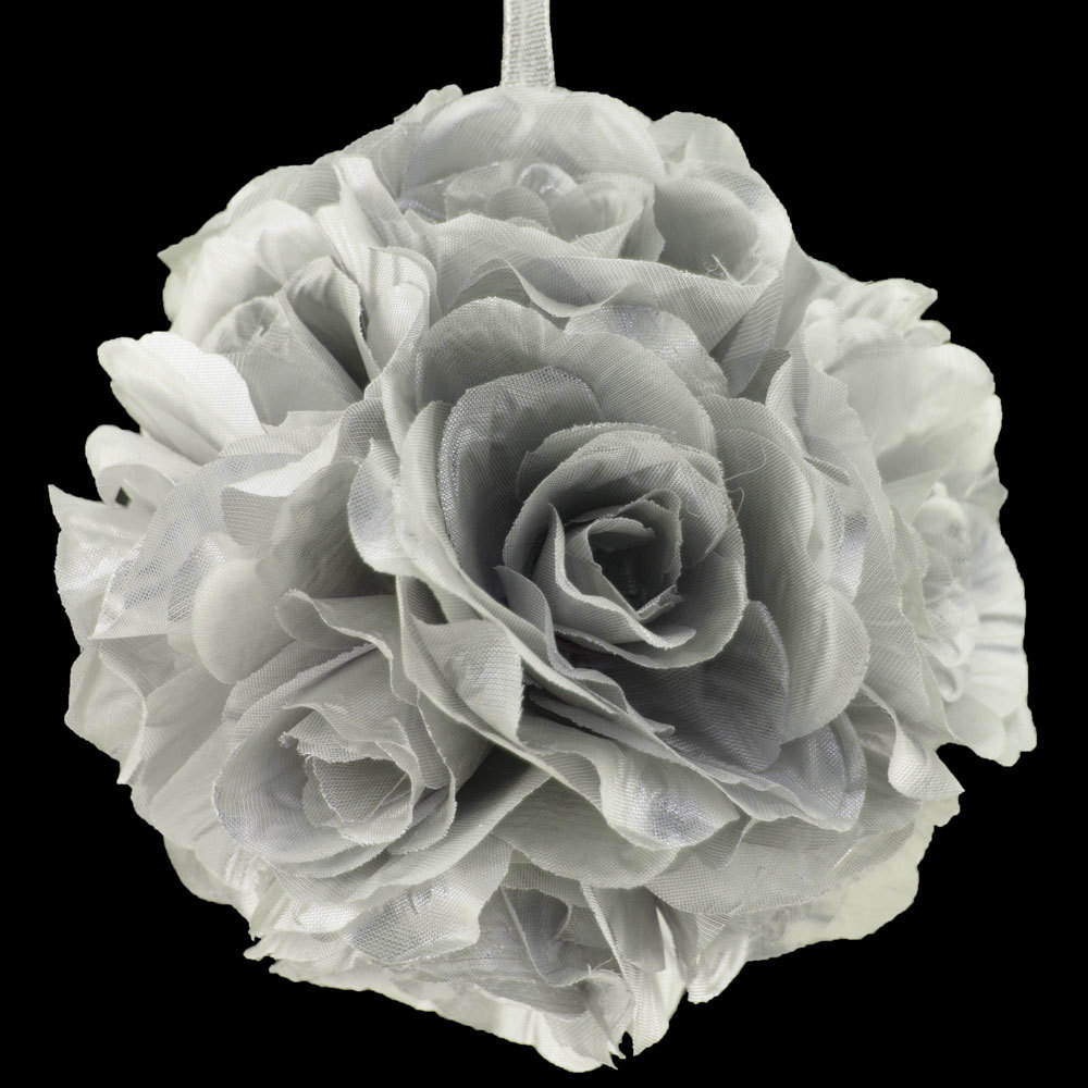 "Quasimoon 6"" Silver Rose Flower Pomander Small Wedding Kissing Ball for Weddings and Decoration by PaperLanternStore"