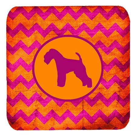 Set of 4 Lakeland Terrier Chevron Pink and Orange Foam Coasters