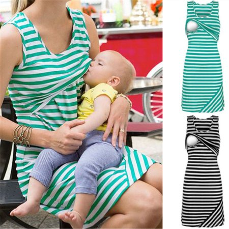 Women Summer Sleeveless Dress New Hot Striped Dresses Breastfeeding And Nursing Women Dresses Women's Tops Vestidos (Single Breasted Stripe)