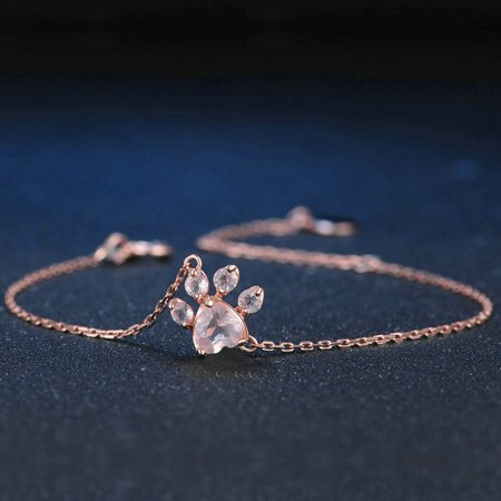 Girl12Queen Fashion Women Cat Dog Paw Claw Rhinestones Bracelet Bangle Chain Jewelry - Cat Bangles