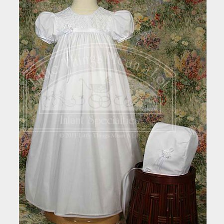 Baby Girls White Bonnet Embroidered Christening Dress Outfit 3M-12M