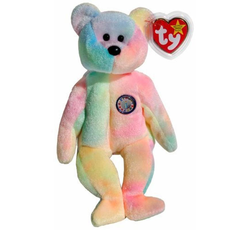 1 X Ty Beanie Babies B.B. the Ty-Dyed Birthday Teddy Bear by