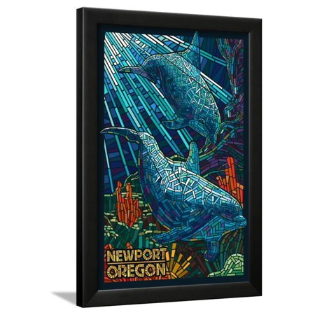 Newport, Oregon - Bottlenose Dolphins Mosaic Framed Print Wall Art By Lantern Press