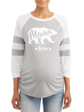 """Two Beautiful Maternity Long Sleeve """"Mamma Bear"""" Football Screen T-shirt"""