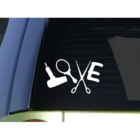 Love Hair stylist *H934* 8 inch Sticker decal dryer scissors salon sign window (Blow Dryer Wall Decal)