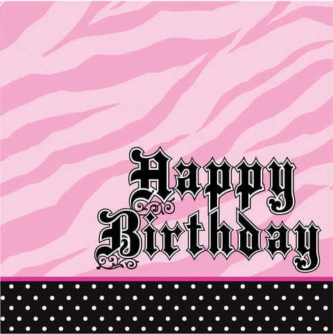 Pink Zebra Party Happy Birthday Lunch Napkins