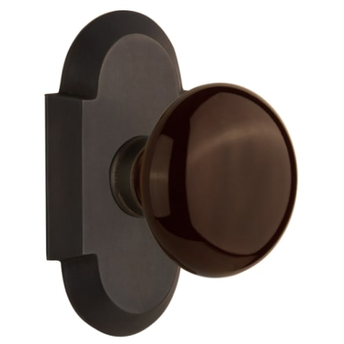 Nostalgic Warehouse COTBRN_SD_NK Brown Porcelain Solid Brass Single Dummy Knob with Cottage Rose
