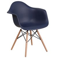 Flash Furniture Alonza Series Navy Plastic Chair with Wood Base