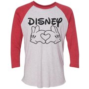 "Womens Disney Raglan "" Disney Love "" Disney World 3/4 Sleeve Baseball Tee Gift Large, White/Red"