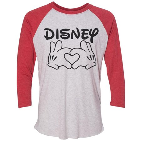"Disney Baseball (Womens Disney Raglan "" Disney Love "" Disney World 3/4 Sleeve Baseball Tee Gift Large,)"