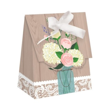 Club Pack of 72 Country Rustic Wedding Party Favor Treat Bags with White Bows 5.5