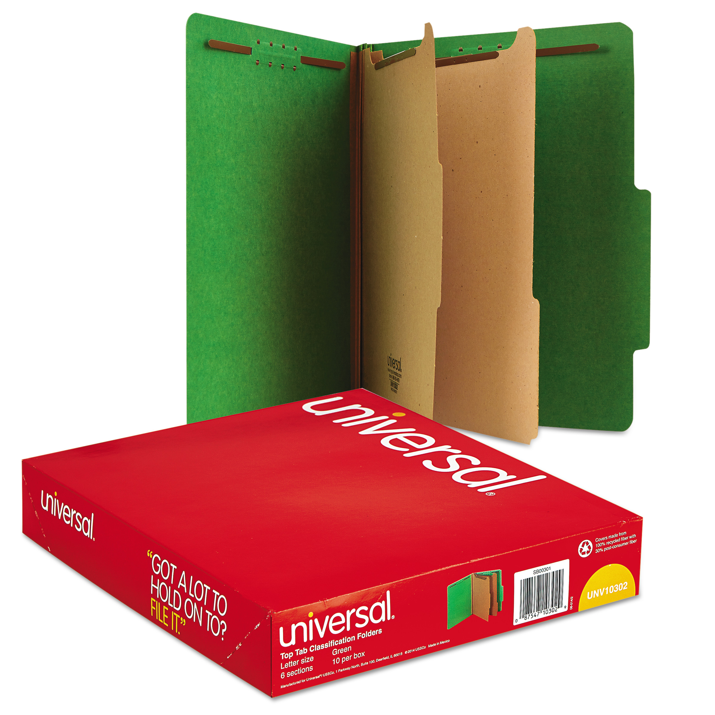 Universal Pressboard Classification Folders, Letter, Six-Section, Emerald Green, 10/Box -UNV10302