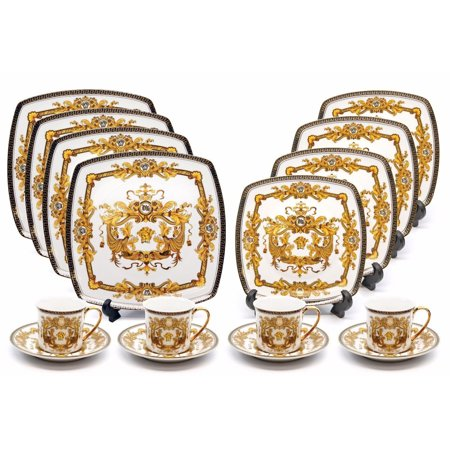 Royalty Porcelain 16-pc Luxury White, Greek Key Dinner Set, 24K Gold Medusa ()