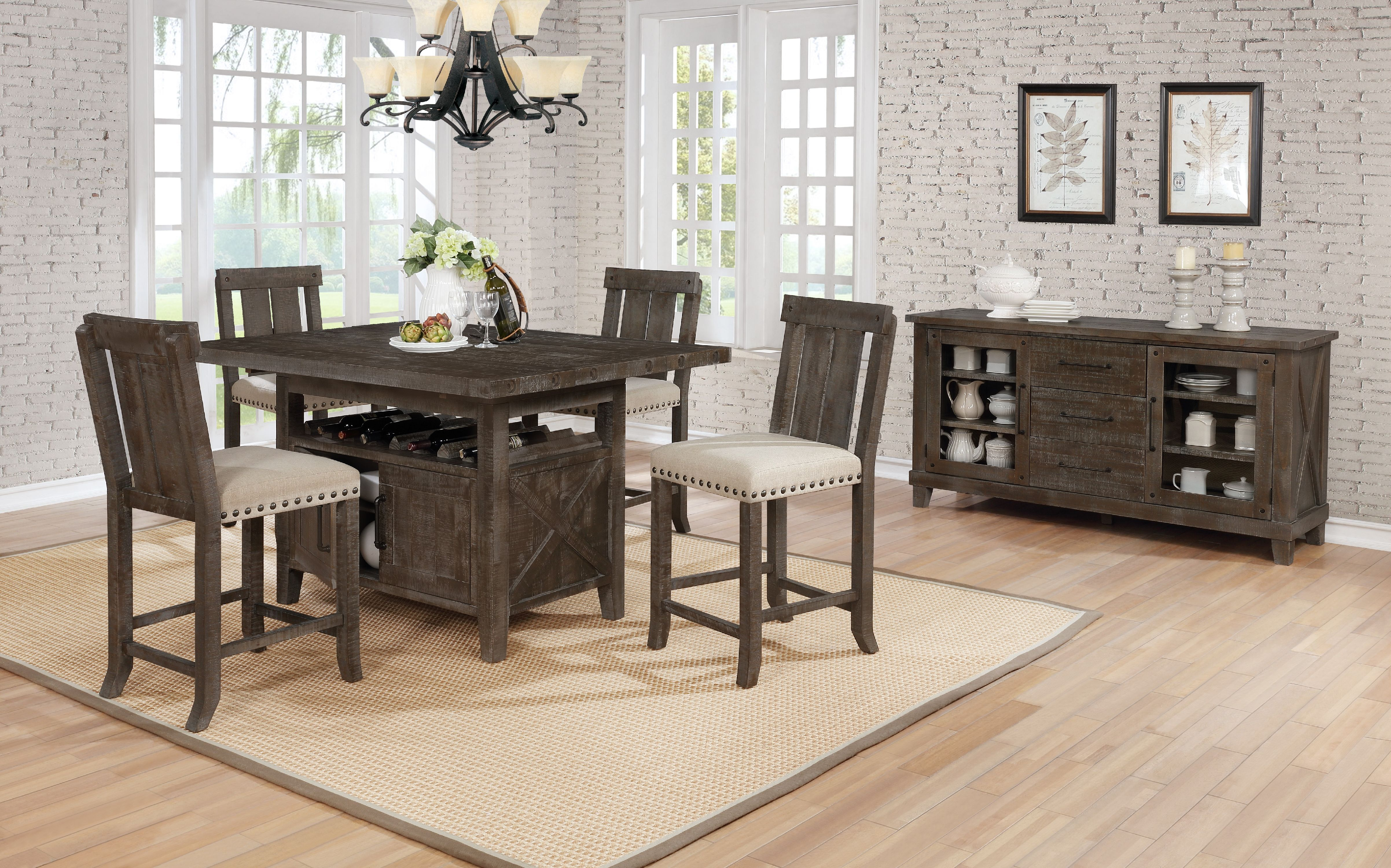 5pc Country Style Counter Height Set Wood C H Chairs And Storage Under Table Rustic Finish Walmart Com Walmart Com