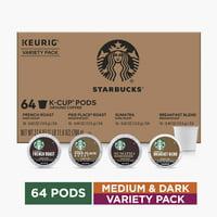 Starbucks Medium and Dark Roast K-Cup Variety Pack for Keurig Brewers, 4 boxes of 16 (64 total K-Cup pods)